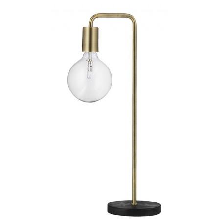 Lampe de table rétro Cool Frandsen laiton antique socle en bois chêne foncé