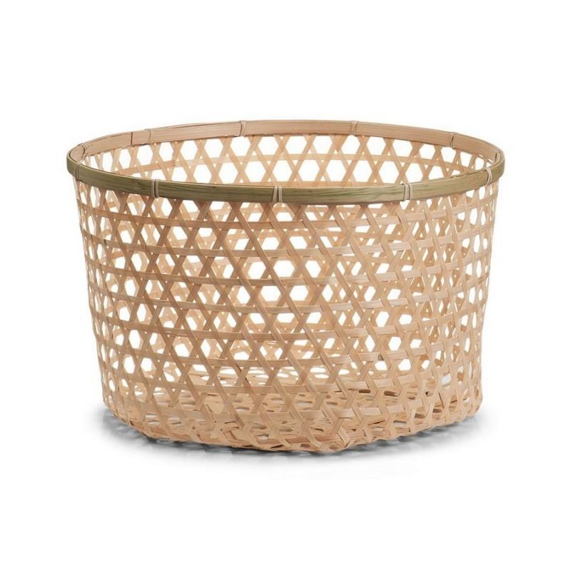corbeille de rangement ronde en bambou tresse zeller 15129. Black Bedroom Furniture Sets. Home Design Ideas