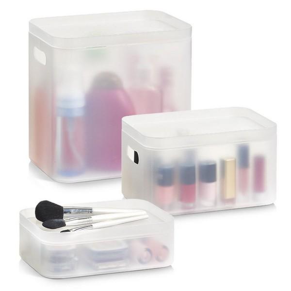 Boites de rangement produits de salle de bains plastique for Boite de rangement salle de bain