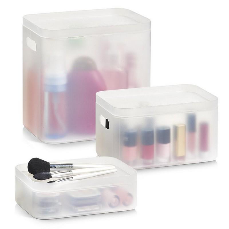 boites de rangement produits de salle de bains plastique translucide zeller 14706 set de 3. Black Bedroom Furniture Sets. Home Design Ideas