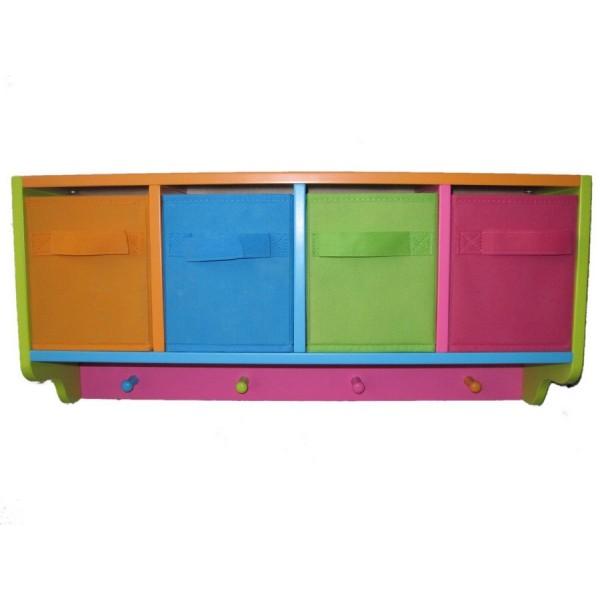 portemanteau mural avec tiroirs de rangement enfant en bois multicolore zeller 13466. Black Bedroom Furniture Sets. Home Design Ideas