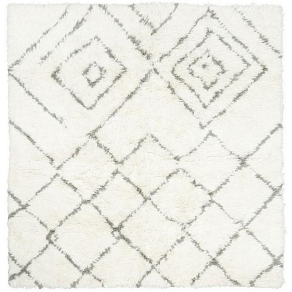 house doctor kuba tapis en laine blanc ivoire gris carre 180 x 180 cm. Black Bedroom Furniture Sets. Home Design Ideas