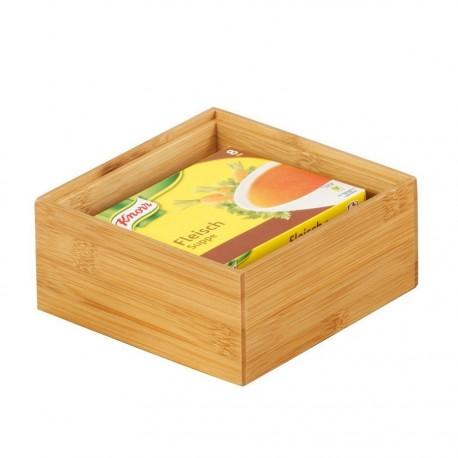 boite de rangement carree en bois de bambou 15 x 15 x 7 cm zeller 13330
