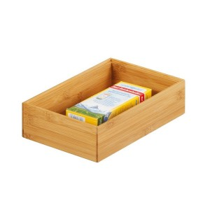 boite de rangement rectangulaire en bois bambou 23 x 15 x 7 cm zeller 13332