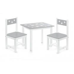 Ensemble table et 2 chaises enfants en bois gris Zeller