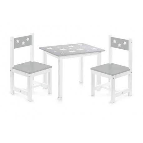 ensemble table et 2 chaises enfants en bois gris zeller 13490