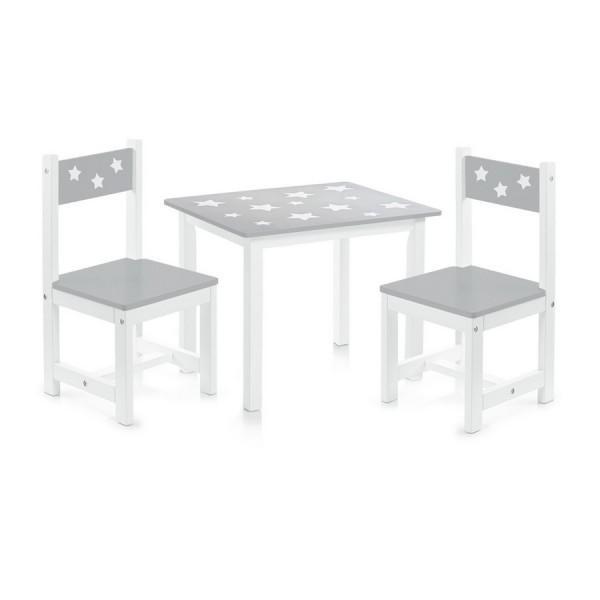 Ensemble table et 2 chaises enfants en bois gris zeller 13490 - Table et chaise enfant bois ...