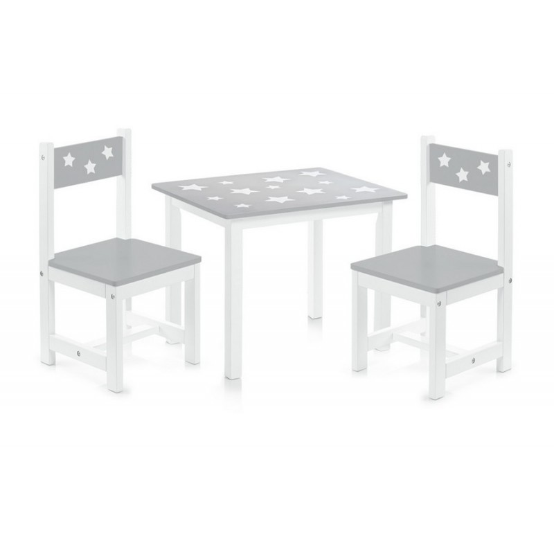 Ensemble table et 2 chaises enfants en bois gris zeller 13490 for Ensemble table et chaise en bois