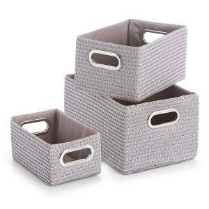 set de 3 paniers de rangement deco tissu gris zeller 14082