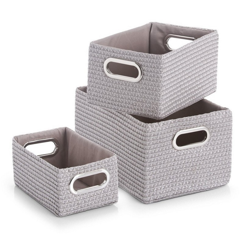 set de 3 paniers de rangement deco tissu gris zeller 14082. Black Bedroom Furniture Sets. Home Design Ideas