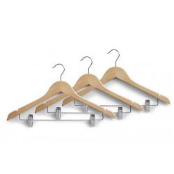 Set de 3 cintres en bois avec pinces pour jupe et pantalon Zeller