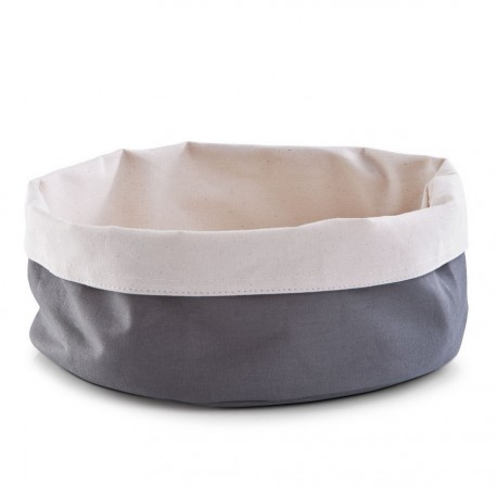 corbeille ronde en textile coton gris beige zeller 18006
