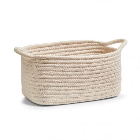 Corbeille de rangement ovale beige tressée avec 2 poignées Zeller