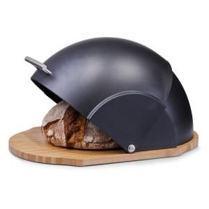 Boîte à pain ronde noire bambou plastique Zeller
