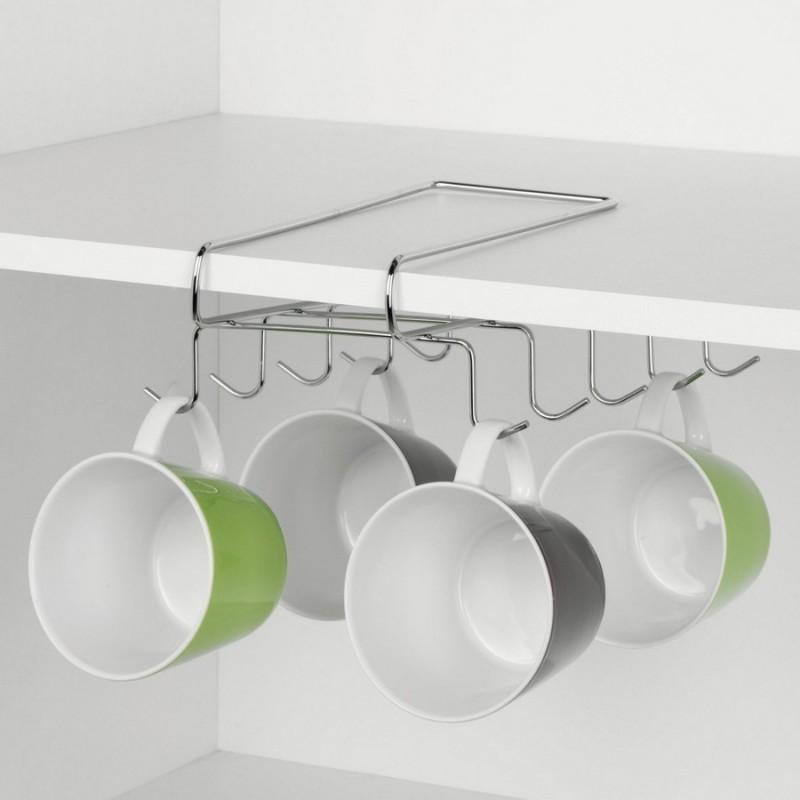 porte tasses suspendu gain de place en metal zeller 24845. Black Bedroom Furniture Sets. Home Design Ideas