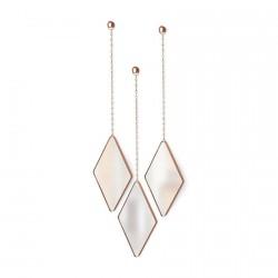 set de 3 miroirs losanges suspendus cuivre umbra dima 358777-880