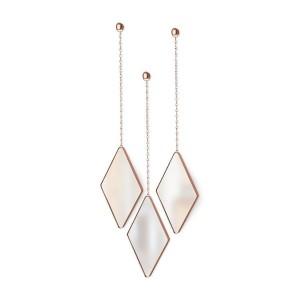 Set de 3 miroirs losanges suspendus cuivre Umbra Dima
