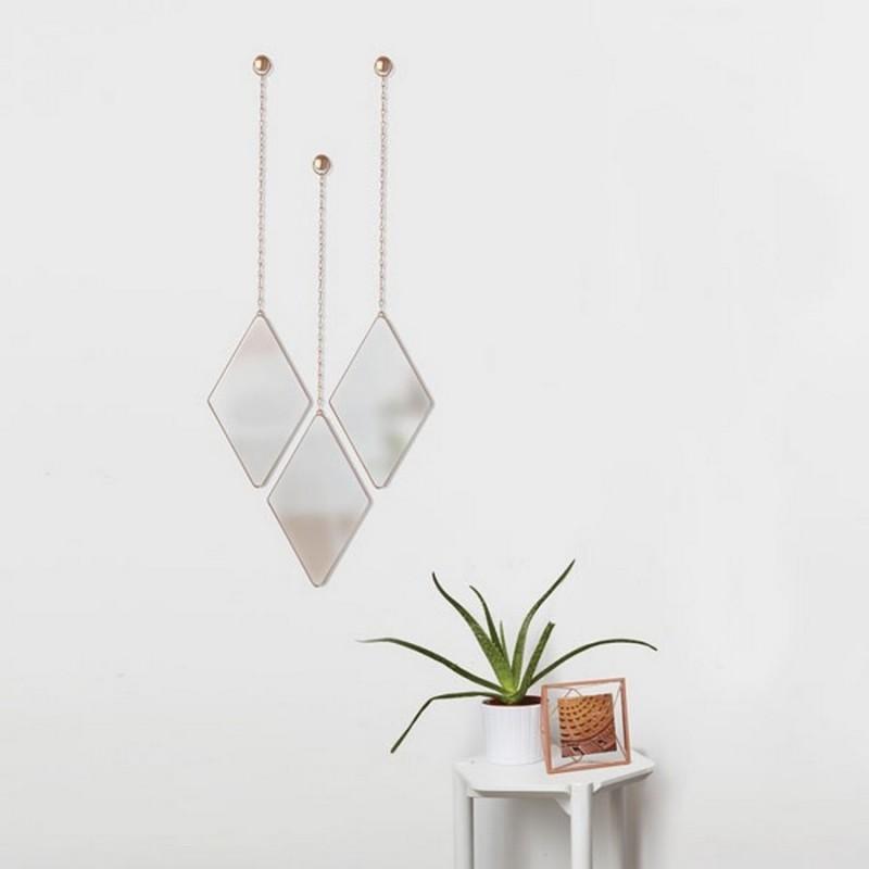 set de 3 miroirs losanges suspendus cuivre umbra dima. Black Bedroom Furniture Sets. Home Design Ideas