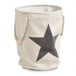Panier à linge tissu beige étoile grise Zeller H 54 cm