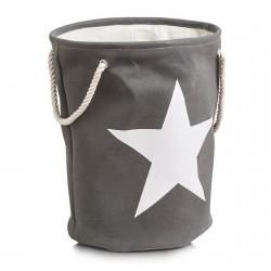 Panier à linge textile coton gris étoile beige Zeller H 54 cm