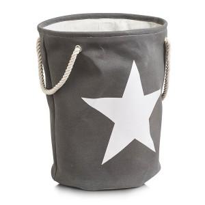 Panier à linge textile coton gris étoile beige Zeller