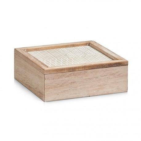 boite de rangement decorative carree en bois naturel 20 x 20 cm zeller 15113
