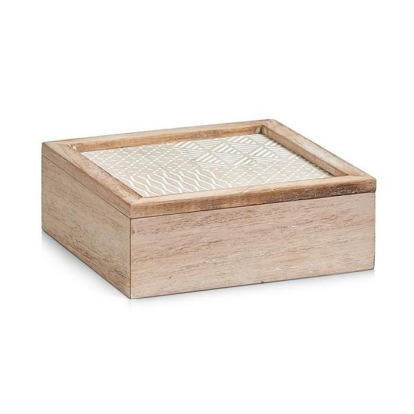 Boite de rangement decorative carree en bois naturel 20 x for Boite de rangement decorative