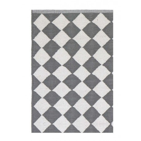 tapis losanges gris et blanc liv interior diamond 55 x 120 cm