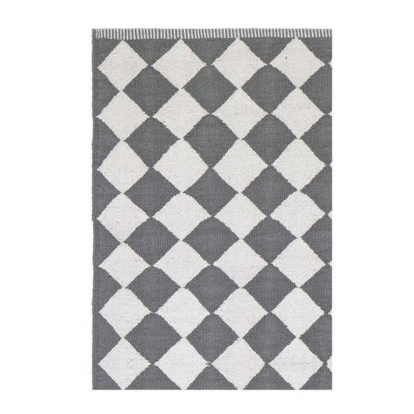 Tapis losanges gris et blanc liv interior diamond 55 x 120 cm kdesign - Tapis gris blanc ...