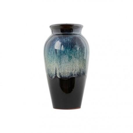 Vase House Doctor en céramique reflets verts noir Antique