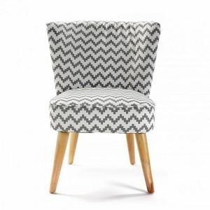fauteuil sans accoudoirs pied de poule blanc gris rhombuses versa