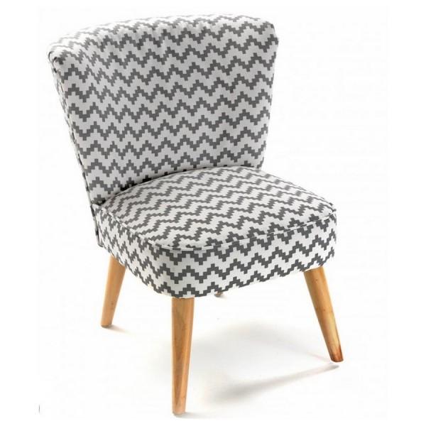 fauteuil sans accoudoirs pied de poule blanc gris rhombuses versa. Black Bedroom Furniture Sets. Home Design Ideas