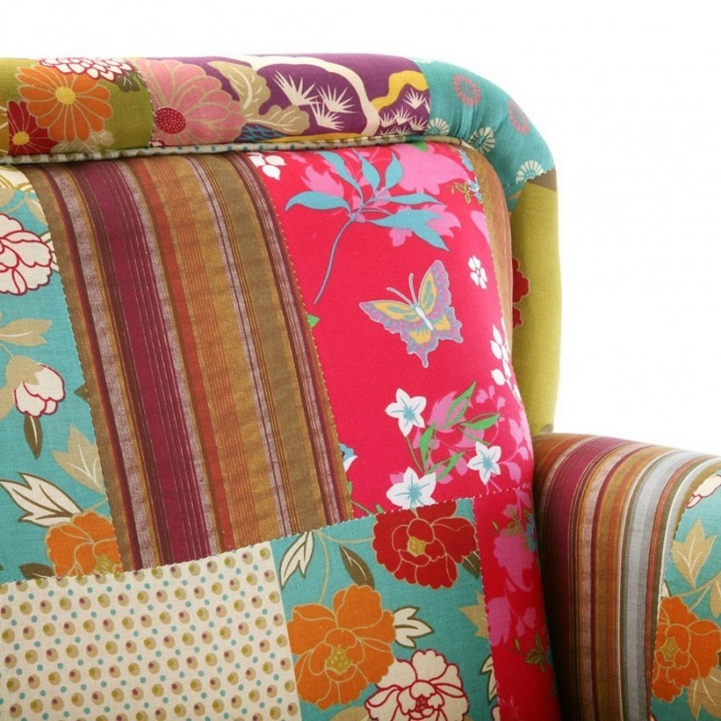fauteuil tissu patchwork multicolore fleuri versa. Black Bedroom Furniture Sets. Home Design Ideas