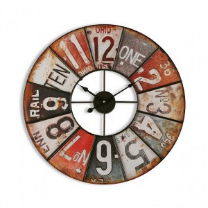 Horloge murale ronde vintage industrielle métal Versa Ohio