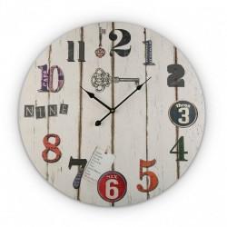 Horloge murale ronde en bois blanc déco vintage Versa