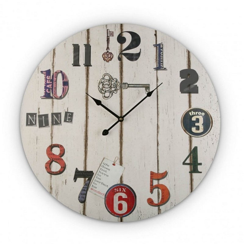 horloge murale ronde en bois blanc vintage versa. Black Bedroom Furniture Sets. Home Design Ideas