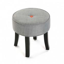 tabouret bas rond 4 pieds tissu gris versa buttons