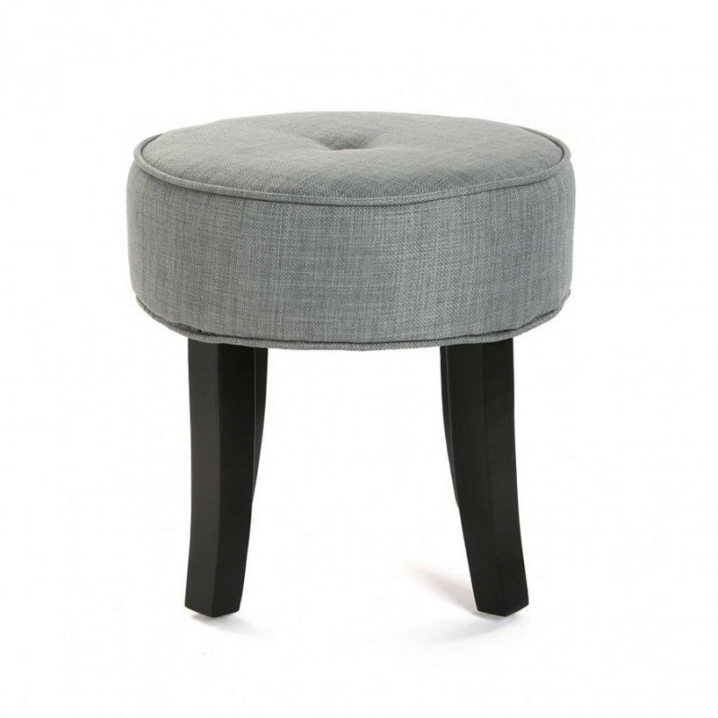 tabouret bas rond 4 pieds tissu gris versa buttons. Black Bedroom Furniture Sets. Home Design Ideas