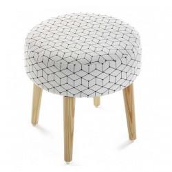 tabouret rond tissu design scandinave 4 pieds bois versa