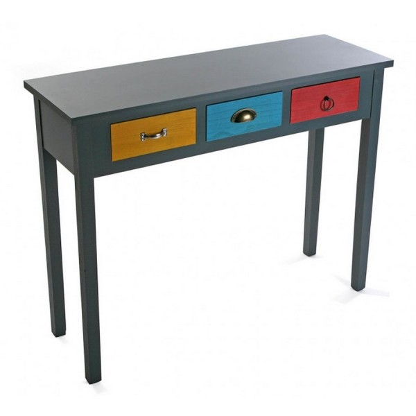 table console d entree bois noir 3 tiroirs multicolores. Black Bedroom Furniture Sets. Home Design Ideas