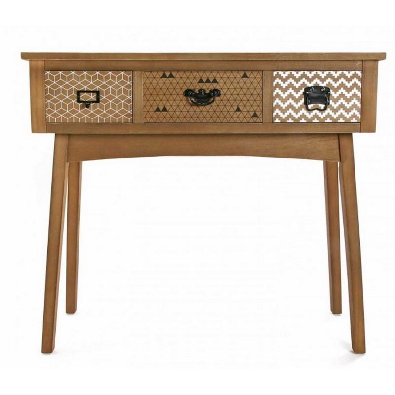 console d entree deco en bois 3 tiroirs versa - Kdesign
