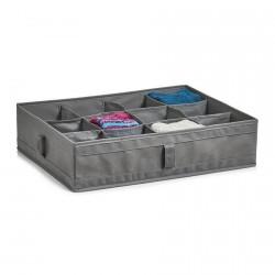organiseur dressing 12 compartiments en tissu gris pliable 14604