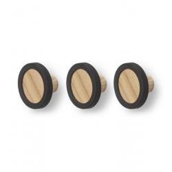 Patères rondes en bois Hub Umbra (set de 3)