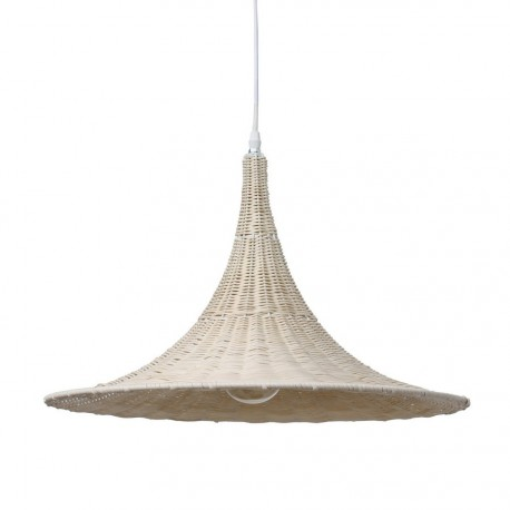 Lampe suspension en osier naturel HK Living Trumpet D 50 cm