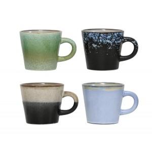hk living tasses a cafe ceramique 70 s set de 4 CER0053