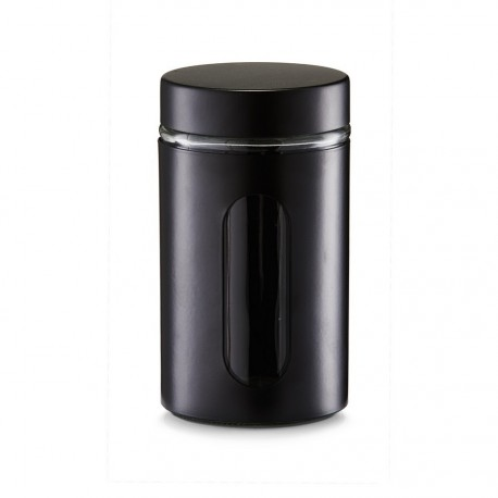 zeller bocal de conservation design metal noir et verre 900 ml