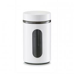 Boîte de cuisine design métal blanc et verre Zeller 900 ml