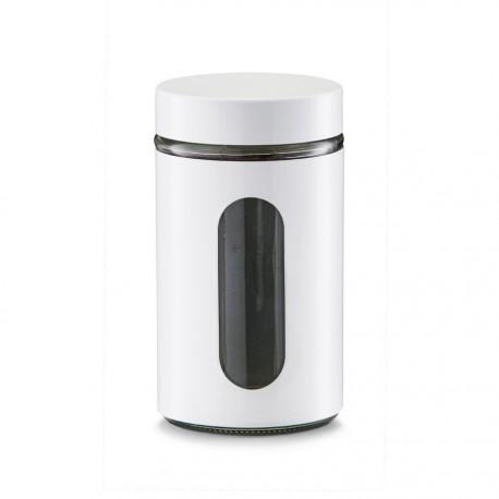 zeller boite de cuisine design metal blanc et verre 900 ml 19791