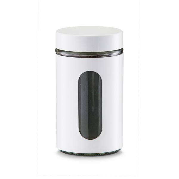 zeller boite de cuisine design metal blanc et verre 900 ml 19791. Black Bedroom Furniture Sets. Home Design Ideas