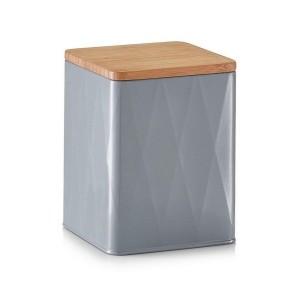 Boîte de conservation métal gris couvercle bois bambou Zeller 1500 ml
